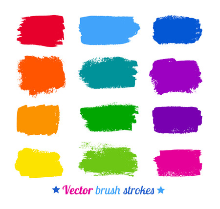 Grunge colorful watercolor brush strokes. Vector set.