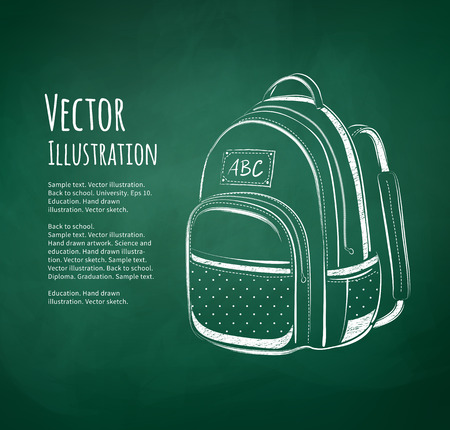 study icon: Chalkboard drawing of school bag on green school-board background. Illustration