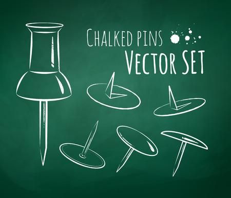 scarpbook: Chalkboard drawing of push pins.