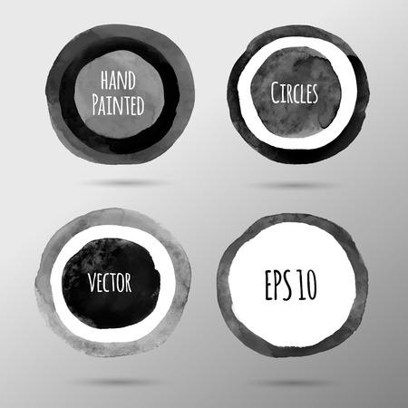 monochrome: Grunge hand drawn monochrome circles. Illustration