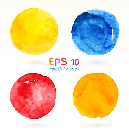 Hand drawn colorful circles vector set. Vector