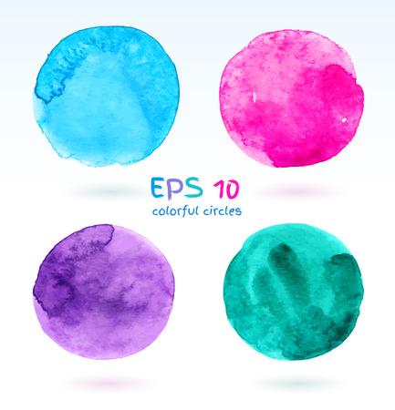 wet paint: Hand drawn colorful circles vector set.