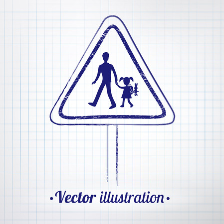 School warning sign drawn on notebook checkered paper. Vector