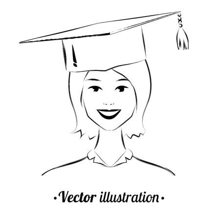 alumni: Portrait of smiling student-girl wearing graduation hat. Illustration