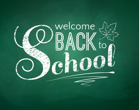 green chalkboard: Back to school typographical background with green chalkboard texture.