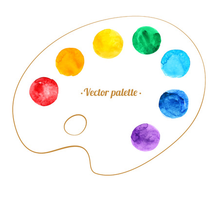 artist palette: Hand drawn watercolor circles and artist palette.