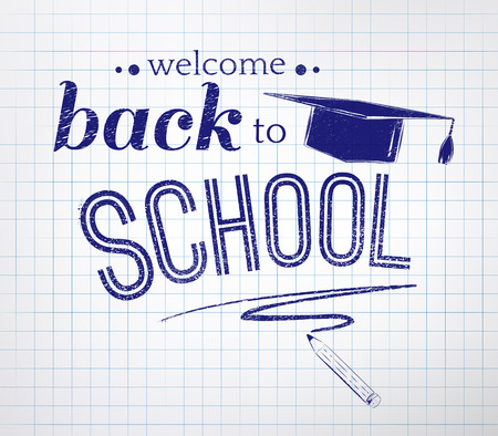 Back to school typographical background with checkered notepad texture. Illustration