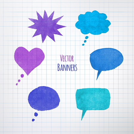 scarpbook: Collection of watercolor colorful speech bubbles. Illustration