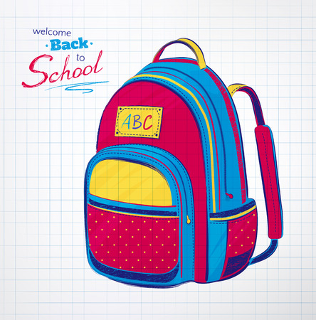 first former: Hand drawn school bag on checkered notebook paper background. Vector illustration.