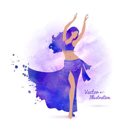 ragazze che ballano: Illustrazione vettoriale di danza del ventre. Vettoriali