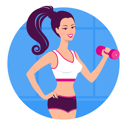 working out: Girl working out with a dumbbell.