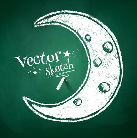 crescent: Grunge chalk drawing of crescent. Illustration