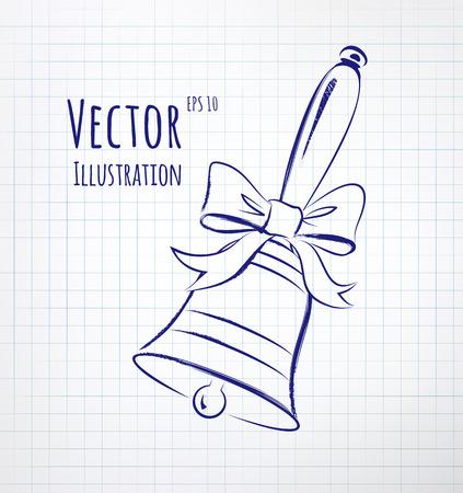 scarpbook: School bell drawn on notebook checkered paper. Illustration