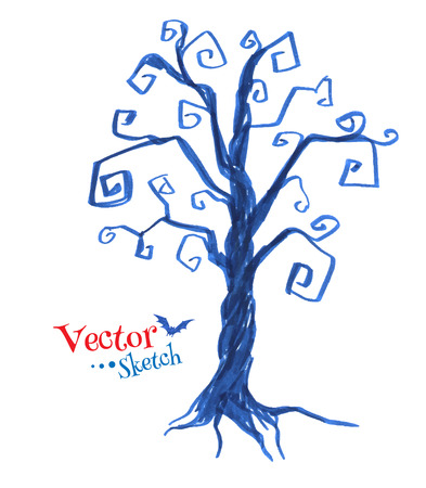 bare: Felt pen drawing of spooky tree. Vector illustration. Isolated.