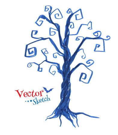 spooky tree: Felt pen drawing of spooky tree. Vector illustration. Isolated.