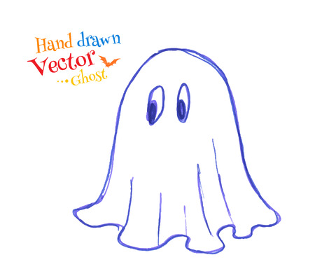 childlike: Felt pen childlike drawing of cute ghost. Vector illustration. isolated.