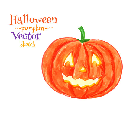 childlike: Childlike drawing of Halloween pumpkin. Illustration