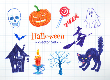 felt: Halloween hand drawn felt pen doodles drawn on checkered notebook paper. Vector set. Isolated. Illustration