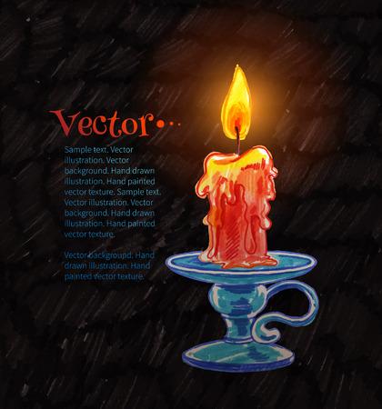 Felt pen drawing of burning candle.