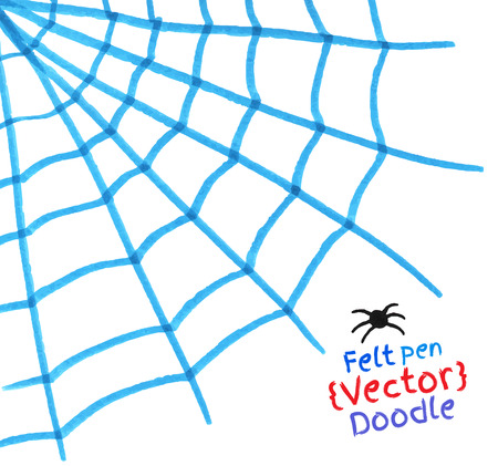 cobwebby: Felt pen drawing of spider web.
