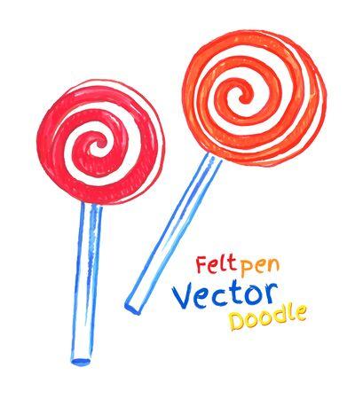 Childlike felt pen drawing of lollipop. Vector