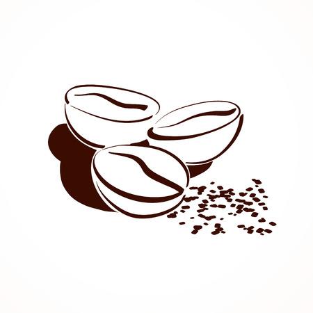 grano de cafe: Vector el bosquejo de los granos de café.
