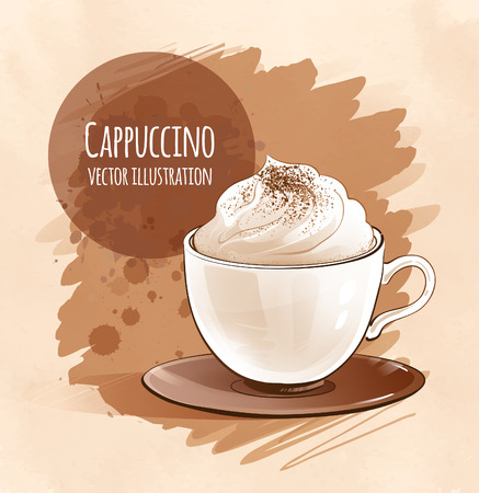 Sketchy vector illustration of cappuccino. 向量圖像