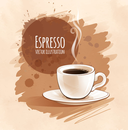 Sketchy vector illustration of espresso. Çizim
