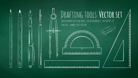 drafting: Chalkboard drawing of drafting tools. Illustration