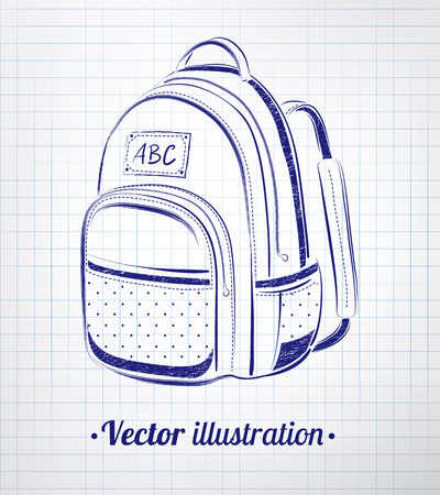first former: School bag drawn on notebook checkered paper.