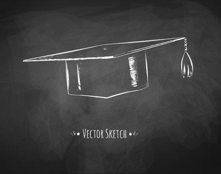 black and white line drawing: Graduation cap drawn on chalkboard.