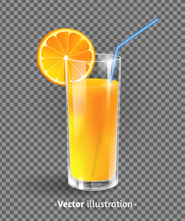 Vector illustration of glass of orange juice.