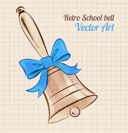 oldened: School bell with bow on vintage notebook background. Illustration