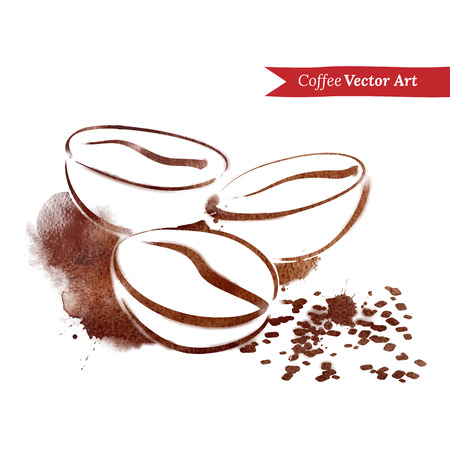 Vector watercolor sketch of coffee beans.