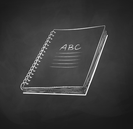 background stationary: Vector chalk drawn illustration of school notebook.