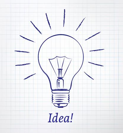 scarp: Light bulb drawn on notebook checkered paper.