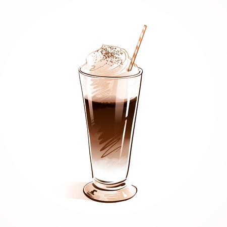 Vector watercolor sketch of coffee Latte. Illustration