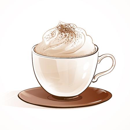 카푸치노 커피의 스케치 벡터 일러스트 레이 션입니다.