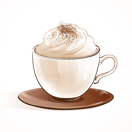 Sketchy vector illustration of cappuccino coffee.