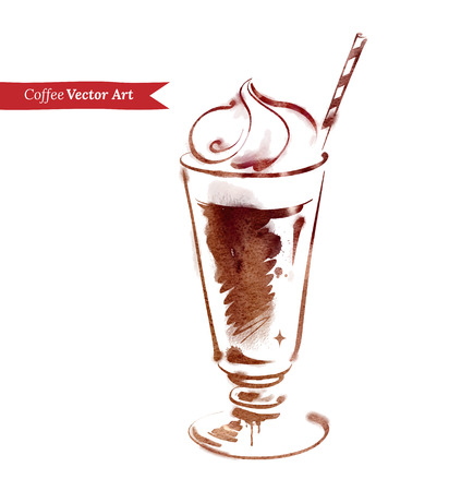 ice cream glass: Vector watercolor sketch of iced coffee.