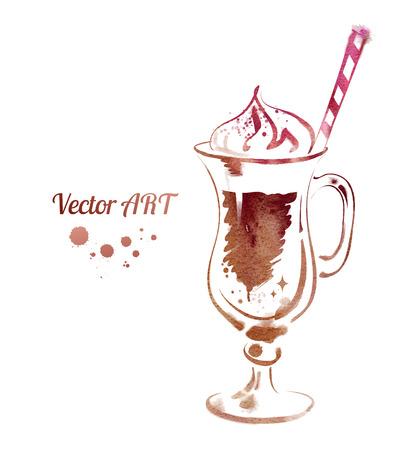 Vector watercolor sketch of Latte.