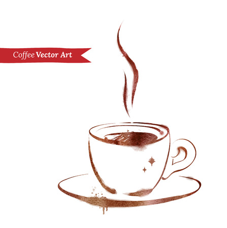 Vector watercolor sketch of a cup of espresso. Vector