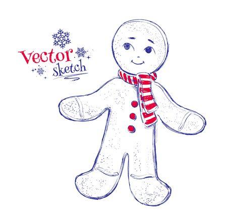 gingerbread man: Sketchy Vector illustration of gingerbread man. Illustration