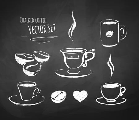 filiżanka kawy: Ręcznie rysowane kredą zestaw do kawy wektorowych.