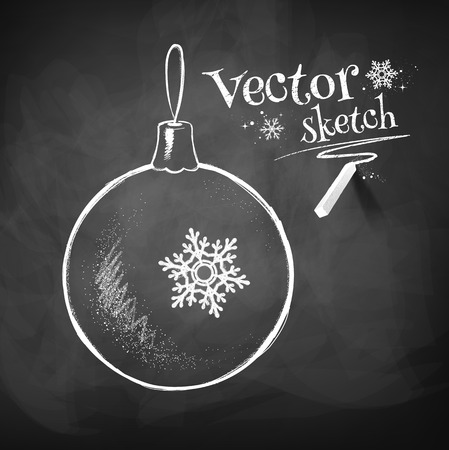 Krijtbord tekening van Kerstmis bal.