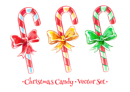 scarpbook: Vector watercolor illustration of Christmas candy set.