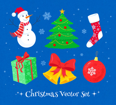 scarpbook: Vector colorful Christmas collection of design elements.