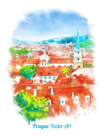 gothic church: Old Prague skyline view. Czech Republic. Watercolor textured art.