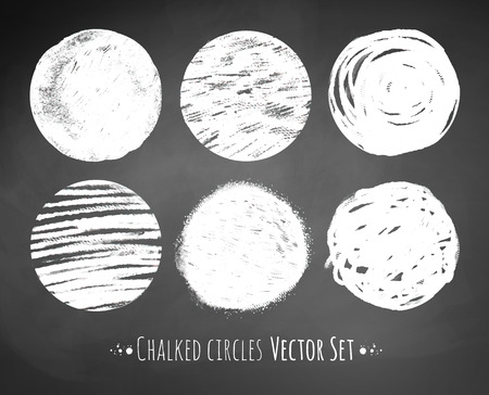 chalk drawing: Grunge chalked circles vector set.