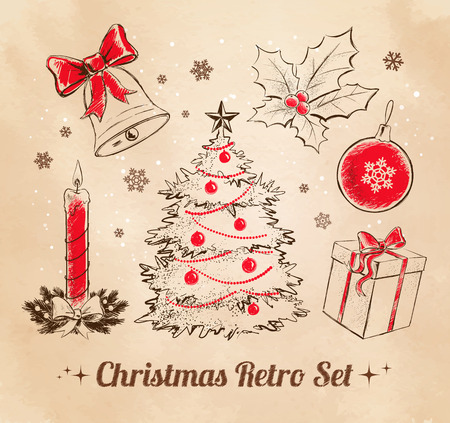 Vintage Christmas collection of design elements. Vector